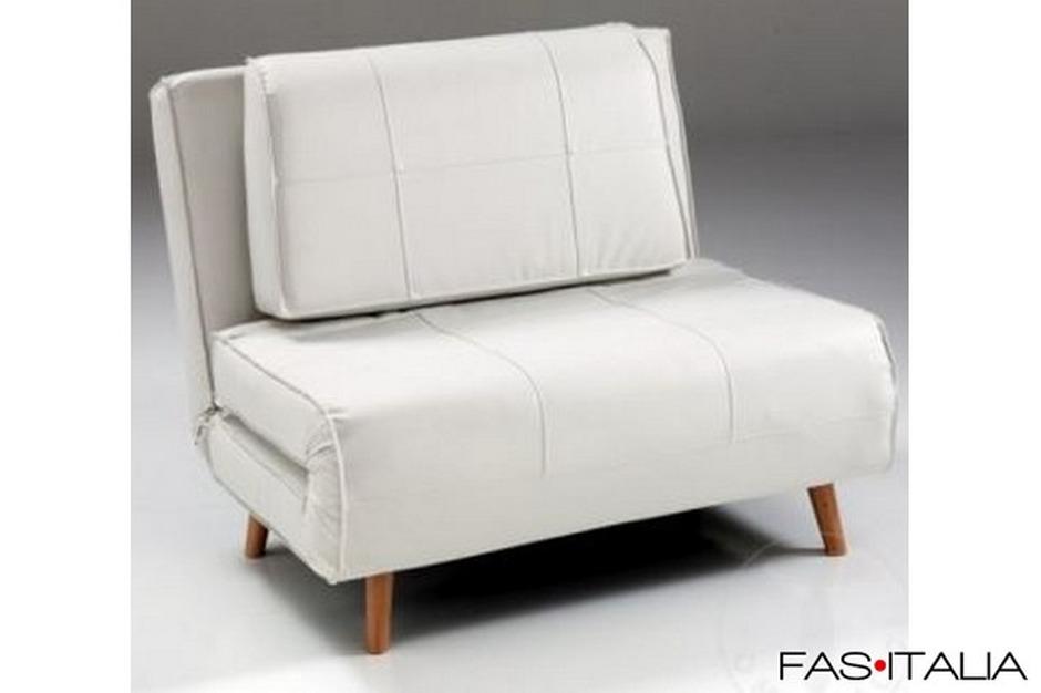 Poltrona letto in ecopelle bianca fas italia for Poltrona letto pelle