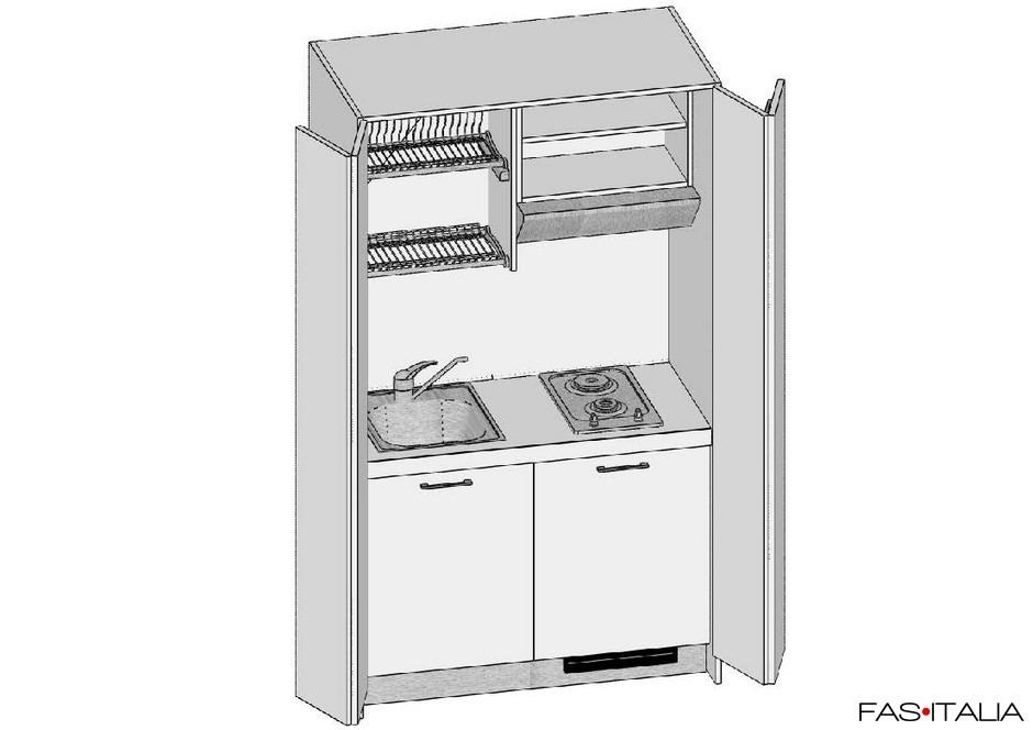 Mini cucina monoblocco con ante a libro 124 cm | Fas Italia